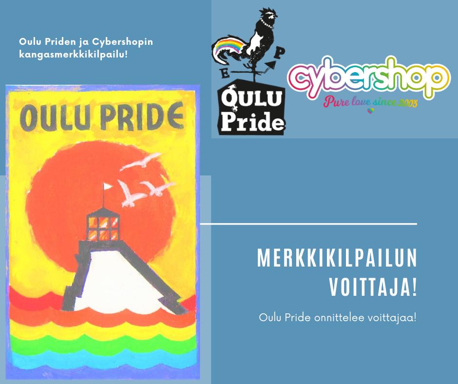 Oulu Priden ja Cybershopin kangasmerkkikilpailun voittaja: voittokuvassa majakka nousee sateenkaaren värisistä alloista, taustalla suuri aurinko.