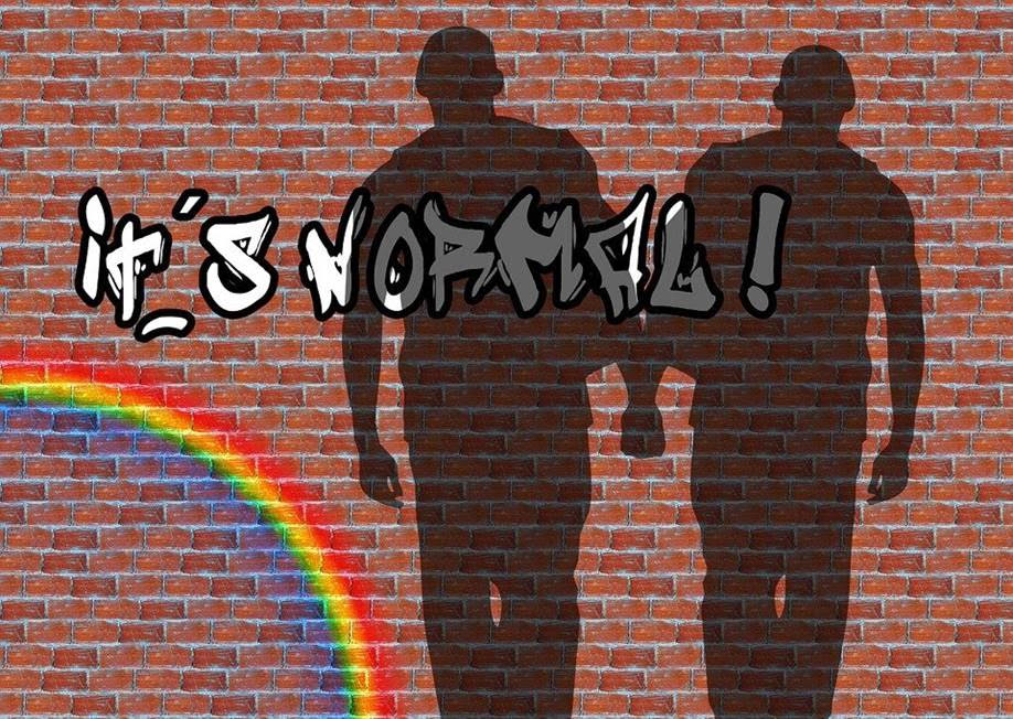 """Tiiliseinässä graffiti: """"it's normal!"""" ja sateenkaari, varjokuvassa kaksi miestä pitelevät toisiaan käsistä."""