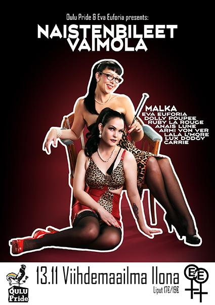 Oulu Pride & Eva Euforia presents: Naistenbileet Vaimola 13.11. Viihdemaailma Ilonassa, liput 17/19€