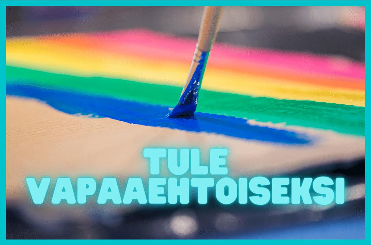 Tule vapaaehtoiseksi. Pensseli maalaa sateenkaarilippua.